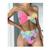 diamond tie-dye bow tube top split high waist bikini  NSZO2603