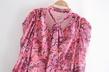 retro floral chiffon draped asymmetric mini dress NSAM3076