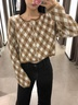 wholesale autumn diamond pattern women's knitted cardigan jacket  NSAM3142