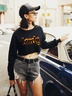 autumn and winter women's sweater letter printing casual short navel NSSN3184