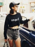 autumn and winter women's sweater letter printing casual short navel NSSN3185