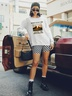 new autumn and winter women's round neck long sleeve street casual NSSN3197