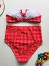 red plaid lace-up tube top bikini V-neck lace-up high waist split swimsuit  NSHL3283