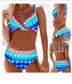 Split Swimsuit High Waist Swimwear Retro Polka Dot Crossover Ladies Sling  NSHL3316