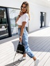 autumn and winter new casual fashion wild loose jeans  NSYF3628