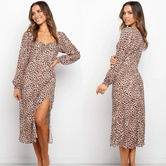 V-neck Long-sleeved Slim Side Slit Leopard Print Dress  NSYD3736