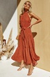 summer new women's polka dot round neck mid-waist sleeveless ruffled flounce dress NSYD3859