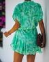 new leaf print ruffled waist tie dress NSYD3865