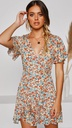 summer new style V-neck short-sleeved waist ruffled printed dress  NSYD3879