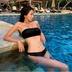 new fashion black velvet tube top sexy split bikini swimsuit  NSHL4012