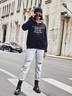 new autumn and winter women's round neck long sleeve street casual NSSN4054