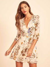 Floral V-neck Ruffle Skirt 7-point Sleeves Dress NSAM4792