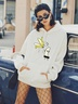 print loose large size hooded sweater women NSSN2236