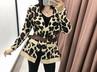 autumn belt leopard print V-neck long sleeve women's knitted cardigan sweater jacket  NSAM2296