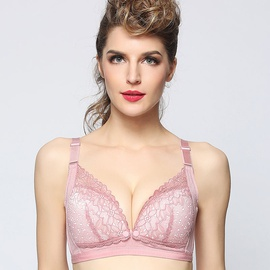 Skin-friendly Comfortable Breathable Lace Front Buckle Nursing Bra NSXY8567
