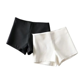 Slim Solid Color Side Zipper Shorts  NSLD13156
