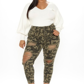 Fashion Plus Size Camouflage Holes Pants NSCX14308