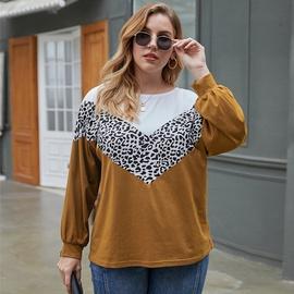 Large Size Leopard Print Round Neck T-shirt  NSQH7532