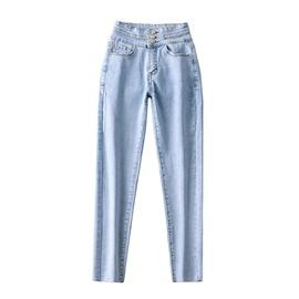 Three Button High Waist Jeans  NSAC17926