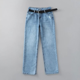 High Waist Ripped Wide Leg Belted Jeans  NSAC17936