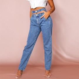 Autumn High Waist Fringed Belt Jeans  NSKL18231