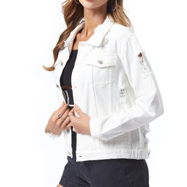 Casual Ripped White Jacket  NSSY19660