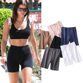 High Waist Solid Color Riding Five-point Pants   NSAC15014