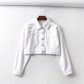 Fashion Short Single-breasted Lapel Denim Jacket NSAC21757