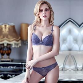 Deep V Gathering Sexy Lace Ladies Underwear Bra Set  NSWM22568