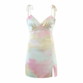 Color Tie-dye Suspender Dress  NSLD23118
