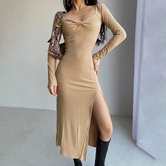 Split Slim Stretch Dress NSAC24495