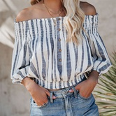 Button Off-shoulder Lantern Sleeve Striped Shirt  NSKL24607