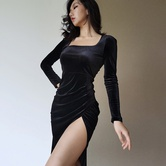 Side Slit Square Neck Dress  NSXE24799
