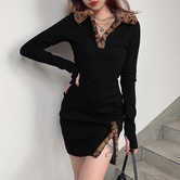 Leopard Print Fur Hair Stitching Slit Dress NSLQ16866