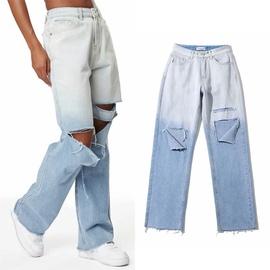 Fashion Ripped Straight Leg Gradient Jeans  NSLD17460
