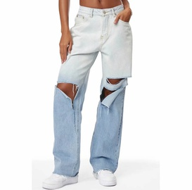 High Waist Loose Gradient Color Hole Wide Leg Pants NSAC17590