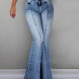 Stretch Frayed Denim Flared Pants NSCX17763