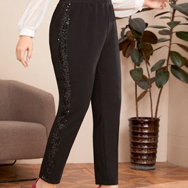 Plus Size Sequins Slim Stretch Casual Pants NSCX17771