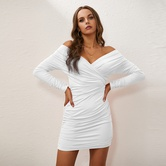 Off-shoulder V-neck Tight Dress NSZY17807