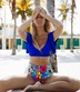 Hot selling fashion women's high waist sexy small sleeves ruffled print swimwear NSHL531