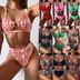 ladies split swimsuit green leopard bikini new solid color swimsuit  NSDA554