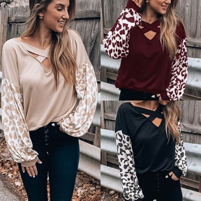 women's new style V-neck cross leopard print casual long-sleeved T-shirt top NSYF829