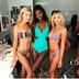 hot style ladies color stripe printing split swimsuit bikini NSDA1209