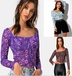 new printed lace sexy square neck long-sleeved T-shirt top NSYF1839