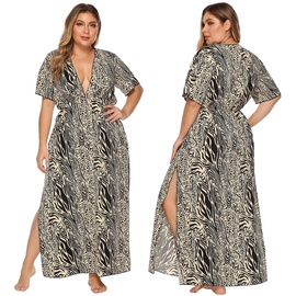 Print Deep V High Sexy Short Sleeve Waist Beach Dress  NSOY27374