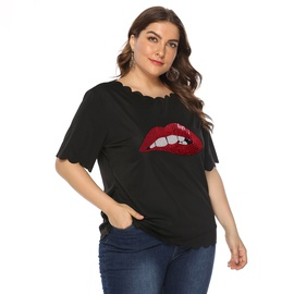 Plus Size Lips Stickers Wavy Edges All-match T-shirt  NSOY27404