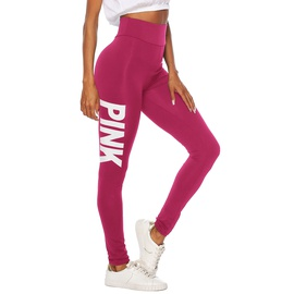 Solid Color Letter Printing Stretch Tight Leggings  NSOY27421