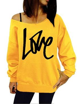 LOVE Letter Printing Long-sleeved Sweatshirt NSOY27423