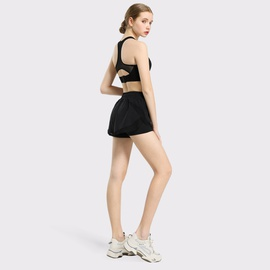 Mesh Splicing Sports Bra Fake Two-piece Shorts Suit NSDS27695