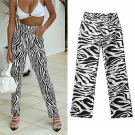 High Waist Contrast Color Zebra Pattern Trousers  NSLD27698
